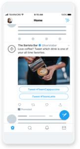 Twitterプロモ広告のカンバセーションボタン付きの画像広告