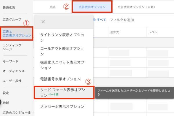 リードフォーム表示オプション設定方法1