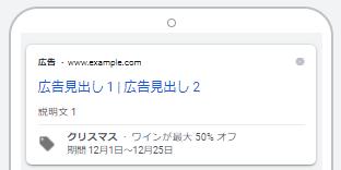 Google広告のプロモーション表示オプション