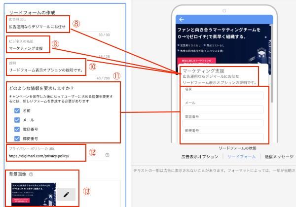 リードフォーム表示オプション設定方法3